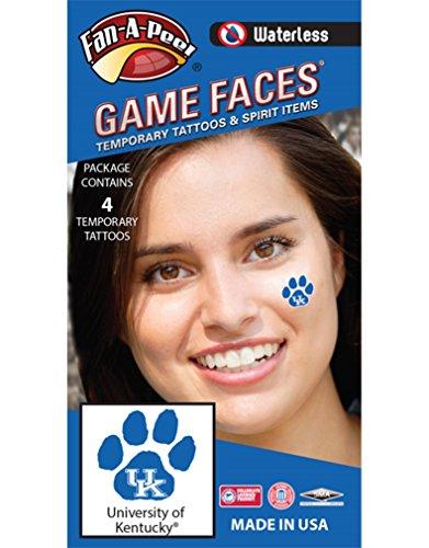 Fan A peel University of Kentucky (UK) Wildcats - Waterless Peel & Stick Temporary Spirit Tattoos - 4-Piece - White UK Logo on Blue Paw Print
