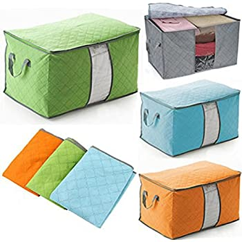 Foldable Storage Zipper Bag Case,3 Pcs Bamboo Charcoal Large Durable Storage  Container Bag For Beddings Comforters Quilt Blanket Pillows Garments  Sweaters ...