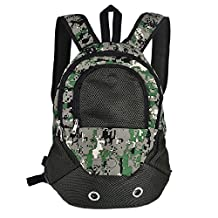 TTnight Pets Carrier Backpack Dogs Cats Mesh Front Bags Soft and Convenient Available for Airplane Travel or Outdoor Activities (Green Camo)