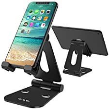 Foldable Tablet Stand Phone Holder, Tecboss Multi Angle Dual Foldable Playstand Universal for iPad, Air, Pro, iPhone X 8 7 Plus, Nintendo Switch, Galaxy S8, Nexus All 4-13 inch - Black