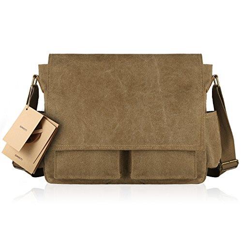 SMRITI 16-Inch Canvas Messenger Shoulder Bag Laptop Crossbody Men Work Book Shool Bag - Brown