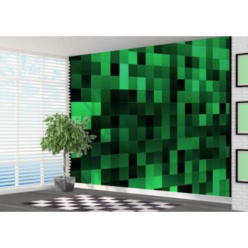 Green Pixel Art Pattern Wallpaper Wall Mural Wall Art 3D   2XL