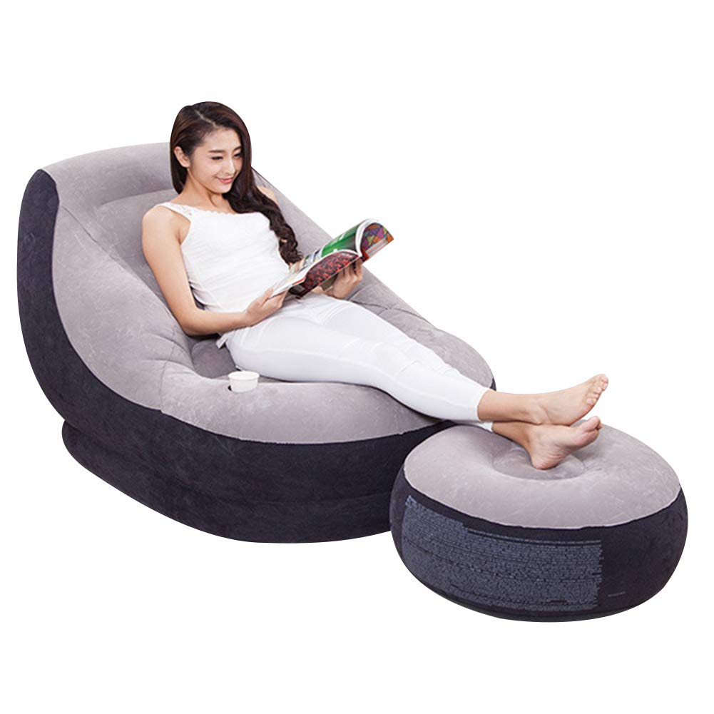 Softmusic Foldable Inflatable Air Sofa Chair Valve Design Anti-Leaking Lazy Couch Home Office Decor Grey by Softmusic (Image #1)
