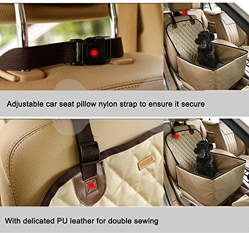 Systond Pet Dog Car Seat Cover Waterproof Booster Seat Carrier Protector 2 in 1 Deluxe Cat Front Seat Case Cushion with Non- Slip Backing for Travel Outdoor Boosterseat02 by Systond (Image #5)