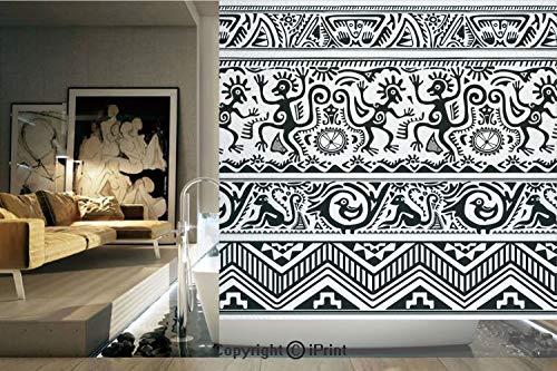 Decorative Privacy Window Film/Monkeys Birds Primitive Animal Motifs Tribal Ornaments African Petroglyph Theme/No-Glue Self Static Cling for Home Bedroom Bathroom Kitchen Office Decor Black White
