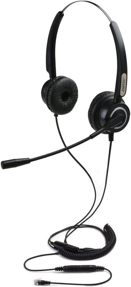 AGPtek HA0101 – Auriculares de diadema abiertos para teléfonos fijos (Binaurales RJ9 de 4 pines con función manos libres, micrófono con cancelación de ruido ,3.5MM QD ,silenciador de volumen)