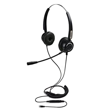 d2d31af1089 AGPtEK Hands-free 4-Pin RJ9 Binaural Telephone Headset , Universal Call  Center Telephone