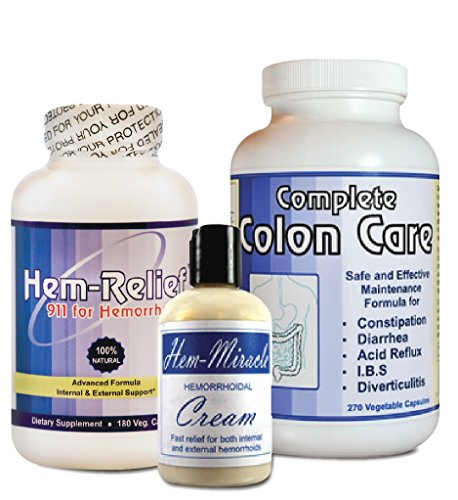 Complete Hemorrhoids Care – The only comprehensive approach that addresses both the cause and the symptoms related to hemorrhoids. Contains Hem Miracle Cream, Hem-Relief and Complete Colon Care. by Western Herbal and Nutrition
