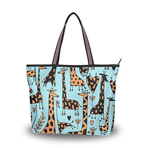 Large Blue Giraffe Shopper Bag Tote Handbag Shoulder Purse Women Men