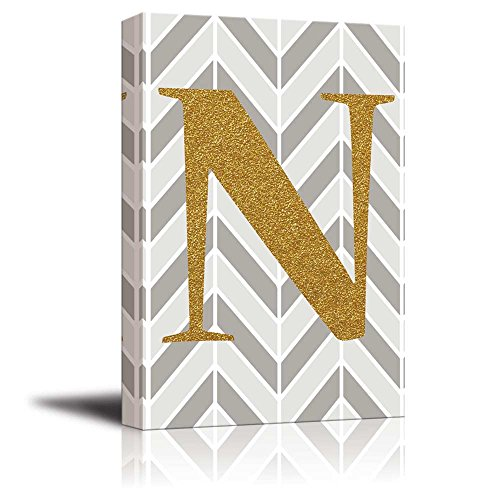 The Letter N in Gold Leaf Effect on Geometric Background Hip Young Art Decor