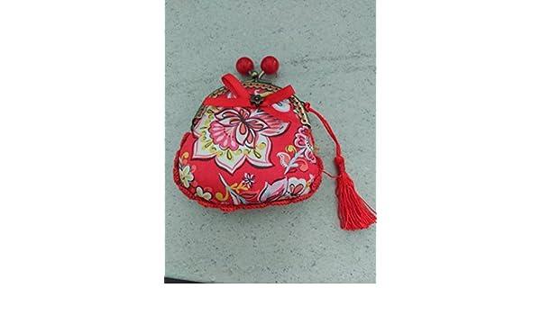 Monedero hecho a mano tela flor roja: Amazon.es: Handmade