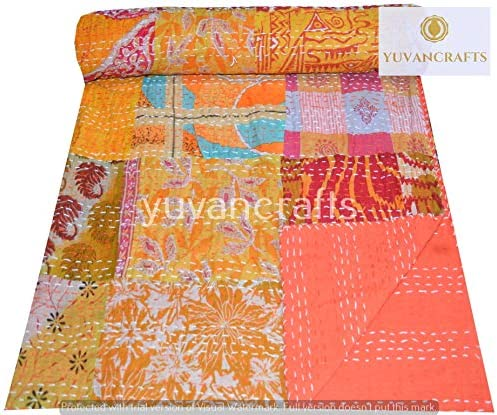 Floral Handmade Kantha Quilt~Indian Bedspread Throw Cotton Blanket Gudari Twin