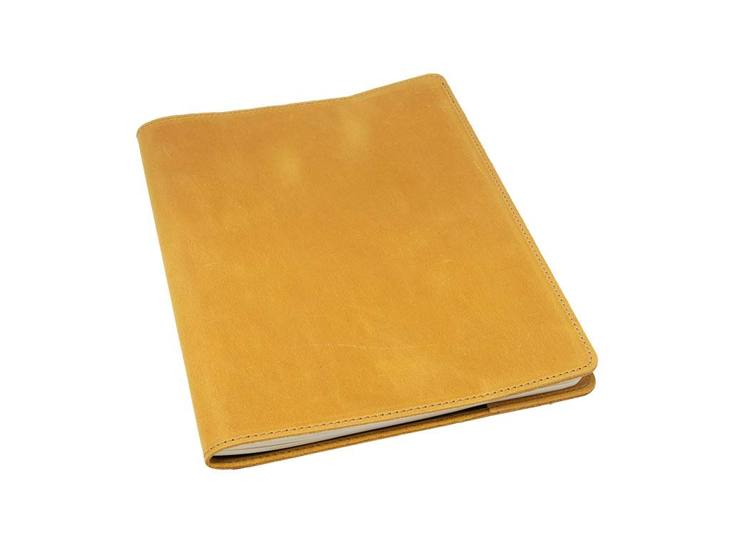 Moleskine Journal Refillable Leather Cover XLarge 7.5 x 9.8 inches Lined Pages Journal Included Handmade in USA Crazy Horse Leather Writing Notebook for Men Women Travelers Business (Wheat)