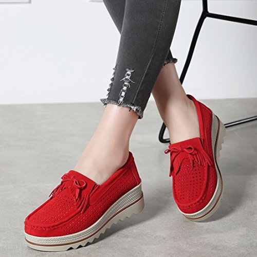 Dicker Wedge Mokassins Red Keil Komfortable 1 Schuhe Absatz Damen SUO Z Wildleder Low Wide Top Slipper YgSSFqfx