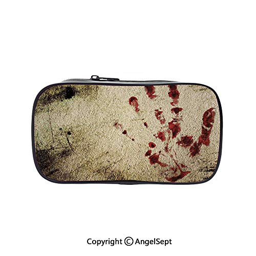 Cute Pencil Case - High Capacity,Grunge Dirty Wall with Bloody Hand Print Murky Palm Trace Victim Violence Red Beige 5.1inches,Multifunction Cosmetic Makeup Bag,Perfect Holder for Pencils and Pens]()