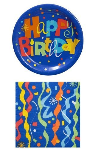 Happy Birthday Party Plates - Greenbrier Happy Birthday Party Pack - 18 Plates and 20 Napkins