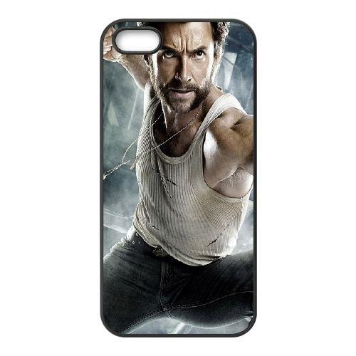 Hugh Jackman Wolverine coque iPhone 5 5S cellulaire cas coque de téléphone cas téléphone cellulaire noir couvercle EOKXLLNCD24466