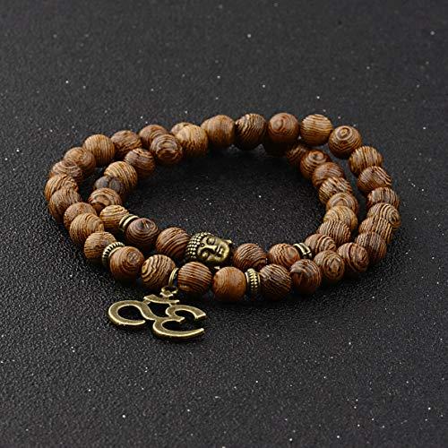 (Florance jones 8MM Fashion Natural Obsidian Beads Double Winding Charm Buddha Beads Bracelets | Model BRCLT - 34013 |)