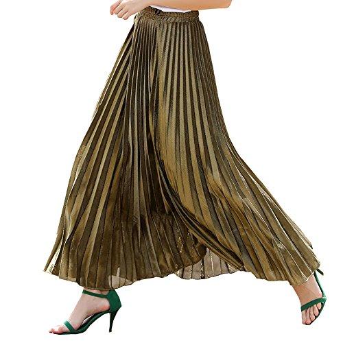 Simple Show Women's Gold Shiny Metallic Elastic Waist Long Pleated Skirt(L,Gold) ()