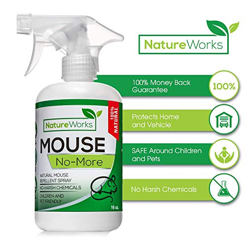 Mouse-No-More I Mouse Repellent Spray I Mice Rat Squirrel & Rodent Defense I Vehicle Protection Car RV & Boat I Indoor & Outdoor I Peppermint Oil | Trap & Poison Alternative | Natural Non-Toxic | 16oz
