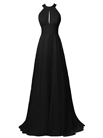 d5845ed7e556 ALAGIRLS Chiffon Halter Long Bridesmaid Dress Sexy Backless Prom Gowns  Black US2