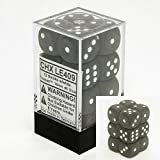 Frosted 16mm d6 Smoke/white Dice Block 12 pipped dice by Chessex