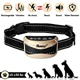 REGIROCK 2018 Upgrade Version Barking Control Collar – Rechargeable & Rainproof No Bark Collar Sound, Vibration Static Shock – 7 Levels Sensitivity Small Medium Large Dog