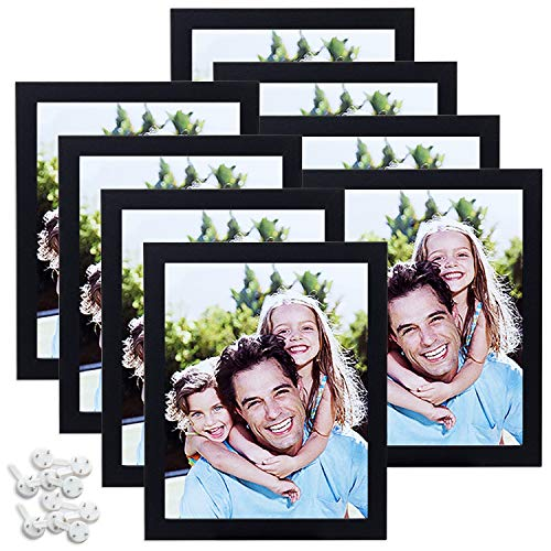 Sindcom 8x10 Black Picture Frames, Set of 8, Multi Photo Frames Collage with Glass Front, Fit Pictures 5x7 with Mat or 8x10 Without Mat, Mounting Hardware Included, for Wall or Tabletop Display
