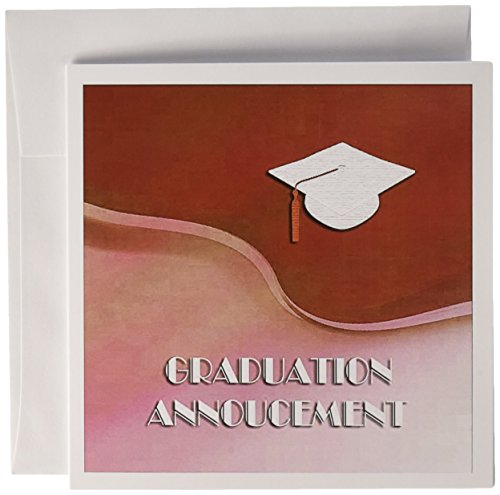 (3dRose Graduation Announcement, White Cap on Red Wave - Greeting Cards, 6 x 6 inches, set of 12)