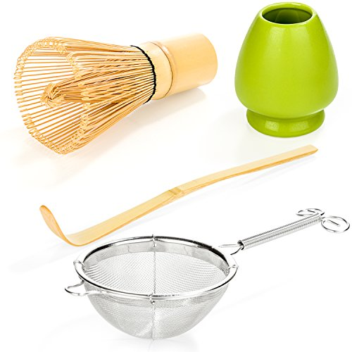 Tealyra - Matcha Whisk 100 Prong - Bamboo Scoop - Ceramic Whisk Holder - Stainless Steel Sifter - Ceremony Matcha Start Up Gift Set - Japanese Matcha Accessories - 4 Piece Kit