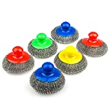 Large Stainless steel sponge with handle, Metal sponge, Metal scrubber, Stainless steel scouring pad (Pack of 6)