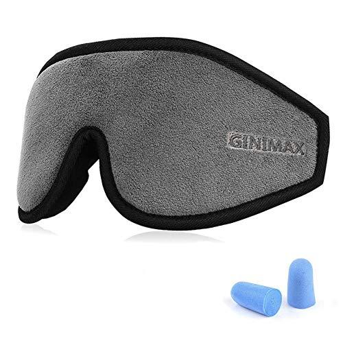 GINIMAX 3D Sleep Eye Mask Cover, Light Blocking Memory Foam Eye Mask with Adjustable Strap for Sleeping/Shift Work/Naps/Night Blindfold Eyeshade for Men and Women