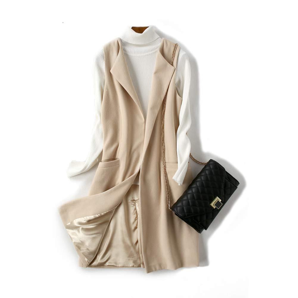 Beige Women Wool Blend Coat Vest Waistcoat Lady Wear Long Waistcoat Coat Casual Sleeveless Jacke