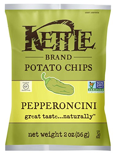 Kettle Brand Potato Chips, Pepperoncini, Caddy of 2 Ounce Bags (Pack of 6)