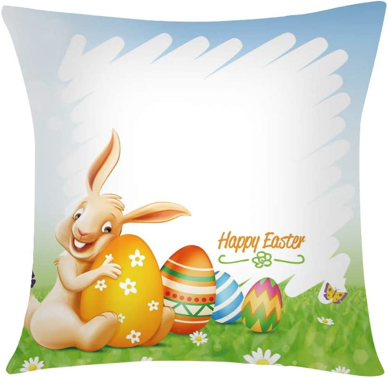Welcome Easter Egg Rabbit Decorative Pillow Cases,18 x 18 inch Easter Pillow Covers Easter Bunny Upholstered Sofa Pillowcases