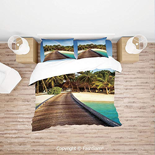 FashSam Duvet Cover 4 Pcs Comforter Cover Set Wooden Bridge to Island Beach Resort with Colorful Rainbow Over Palm Trees for Boys Grils Kids(Single)