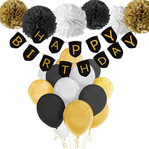 PAXCOO Black and Gold Birthday Decorations with Happy Birthday Banner Black Gold Balloons and Party Supplies for 20st, 30th, 40th, 50th, 60th, 70th,75th, 80th Birthday -