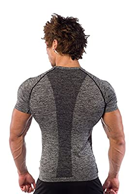 Men's Bodybuilding Workout Seamless T Shirt Slim Fit Performance Muscle Tee