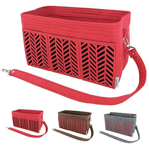 BELIANTO Felt Purse Organizer - Middle Insert, Bottle Holder for Tote Handbag Purse (Herringbone) (Medium, Red)