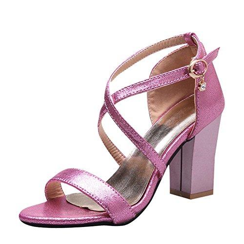 Sandalias De Tacón Alto Carolbar Mujeres Buckle Fashion Sexy Open Pink