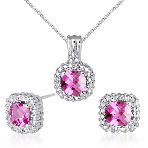 Created Pink Sapphire Pendant Earrings Necklace Set Sterling Silver 4.50 Carats