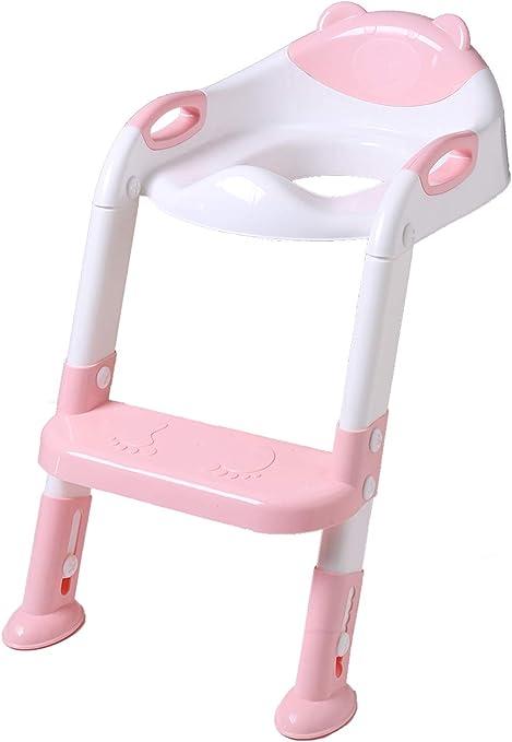DoubleBlack Orinal Adaptador Asiento Plegable WC con Escalera Niños Reductor Bebe Rosa: Amazon.es: Bebé