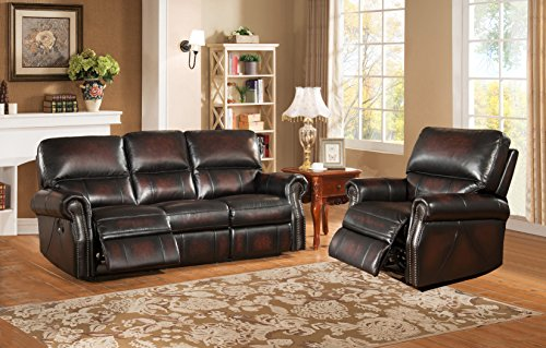 Amax Leather Brooklyn Leather Reclining Sofa and Recliner, Burgundy Brown