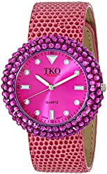 TKO ORLOGI Women's TK618-FS Fuschia Crystal Leather Slap Watch