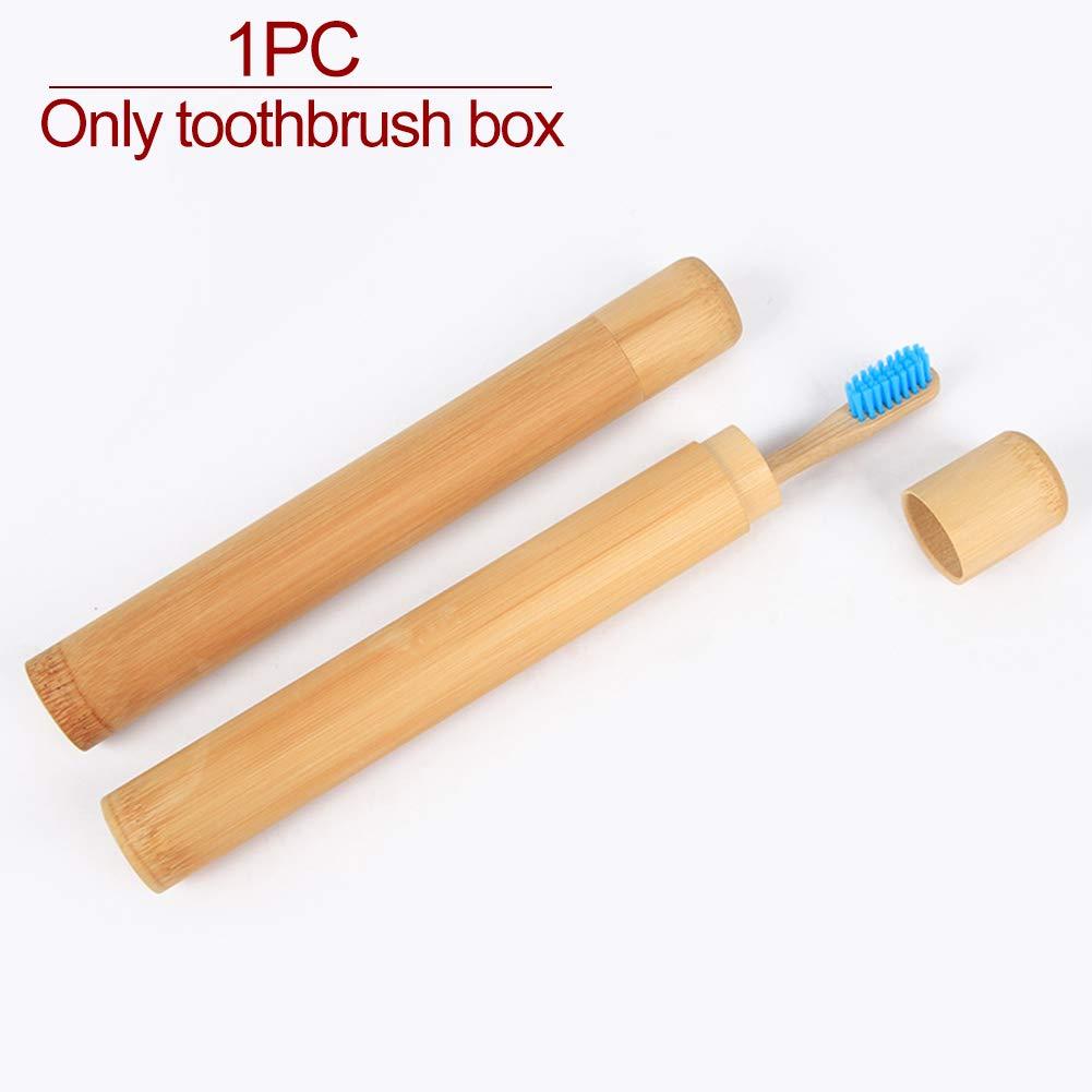 Bamboo Color Tama/ño Libre Ideal para Viajes Respetuoso con el Medio Ambiente HINMAY Estuche de bamb/ú para cepillos de Dientes