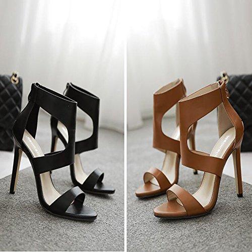 moda cuero botas para Sandalias marrón altos de de Primavera GAOLIXIA de boda Señoras tacones claro banquete sintético Black el Verano de Nuevas negro 7qWX4