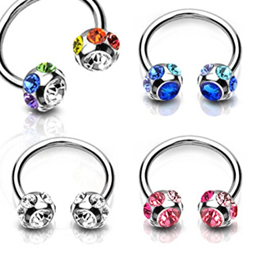 Freedom Fashion 7-Gem Paved Balls 316L S. Steel Horseshoe (Sold by Piece)