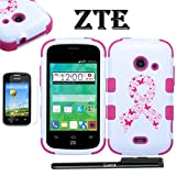 zte whirl 2 cases - For ZTE Zinger Case, LUXCA (TM) ZTE Zinger / ZTE Whirl 2 / ZTE Z667 / ZTE Prelude 2 Heavy Duty Rugged Impact Armor Hybrid Kickstand Case Phone Cover Tuff Verge + LCD Screen Protector + Stylus Pen (Pink Ribbon Breast Cancer)