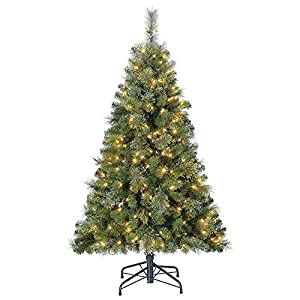 Home Heritage Cascade Artificial Pine Christmas Tree with Dual LED Changing Lights 114
