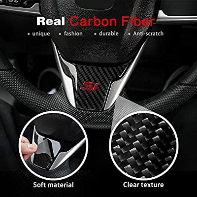 Thenice for 10th Gen Civic Real Carbon Fiber Steering Wheel Trims Interior Wheel Cover Decoration for Honda Civic 2020 2020 2020 2020 2016 (with Si): Automotive